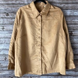 Faux Suede Long Sleeve Button Up